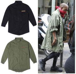 Wholesale la calle principal de la chaqueta caliente de la cadera HopWinter chaqueta de los hombres de moda las chaquetas casuales abrigo estilo de Kanye West Negro verde militar de largo