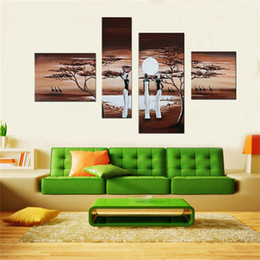 Hand Painted Modern Wall Art Home Decorative Abstract Landscape Good Harvest Oil Painting On Canvas 4pcs Set