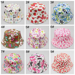 Wholesale kids bucket hat cap baby summer hats boy girls sun hats canvas beach hat high quality children caps cartoon flower hats sun bonnet