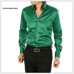 Wholesale New Dress Shirts For Men Formal Business Style Silk Casual Shirt Men Size S XXXL TS015