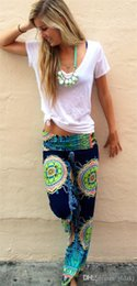 Wholesale 2016 pieces Womens Floral Casual Wide Leg Long Stretch Pants Bohemian Loose Palazzo Trousers