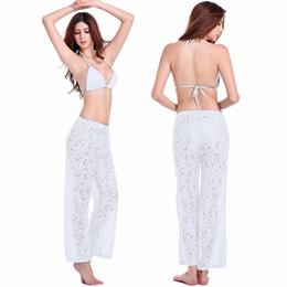 New Mulheres Calças Verão nova Europa sexy straight lace tendência casual calças conforto respirável oca Crochet praia calças Frete Grátis