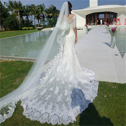 Wholesale Scoop Neckline France Lace Mermaid Robe de mariée Demi manches Applique Lace Robe de mariée sexy Inclut Long Veil M