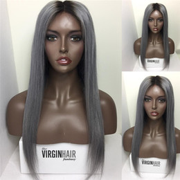 Discount ombre two tone color virgin hair Virgin Peruvian #1B Grey Two Tone Glueless Full Lace Human Hair Wigs Ombre 1B Grey Lace Front Wigs Bleached Knots Full Density