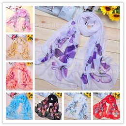 Discount women scarves dhl shipping Cheap 10 Styles Scarf Sarongs Brisk Butterfly Pattern Scarves Chiffon Printed Scarfs Free shipping DHL 100