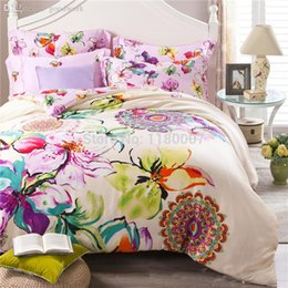 Discount pink butterfly duvet cover Wholesale-Luxury Reactive Printing  Bedding Set Super Soft Tencel Silk