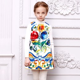 Wholesale Baby Girls Dress Family Matching Clothes Mother Daughter Dresses Kids Clothes with Majolica Print Women Dress Princess Vestido Menina