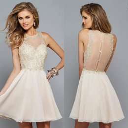 Wholesale Charming Beige Lace And Chiffon Sheer Jewel Short Homecoming Dresses Cheap Illusion Back Sexy Cocktail Dress Custom Made EN8108