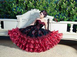 Wholesale Stunning Appliqued Quinceanera Dresses Strapless Neckline Cascading Ruffles Skirt Masquerad Ball Gowns Organza Beaded Debutante Dress