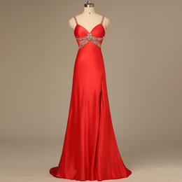 Wholesale Long Elegante Vermelho sexy branco Rhinestone noite dressess A linha de vestido de festa noiva Hollow Celebrity Vestidos Senhoras smoking formal QW709