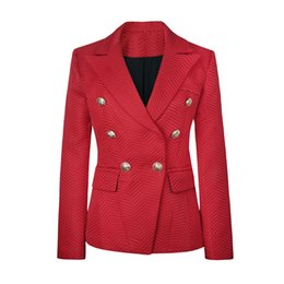 Wholesale HIGH QUALITY New Fashion Runway Style Women s Lion Buttons Double Breasted Twill Jacquard Blazer Jacket Outerwear