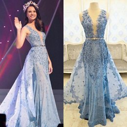 Wholesale 2016 Real Photos Zuhair Murad Evening Dresses Detachable Overskirts Illusion Deep V neck Beaded Lace Appliques Tulle Celebrity Prom Gowns