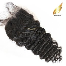 Wholesale Deep Wave Malaysian Virgin Human Hair Extensions Lace Closure Weave Free Part Unprocessed Hair Closure Top Grade