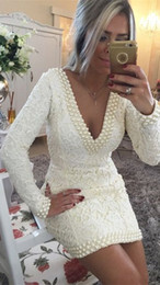 Wholesale Pretty White Pearls Cocktail Dress Evening Gowns With Lace Long Sleeves Deep V neck Short Cheap Homecoming Party Prom Formal Dresses Gown