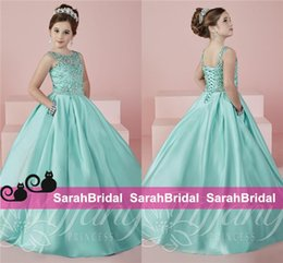 Wholesale 2016 Lovely Long Flower Girls Pageant Dresses Sheer Crew Neck Beaded Corset Back Mint Satin A Line Skirt Princess Ball Gowns with Pockets