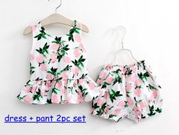 Wholesale 2016 Korean Fresh girl summer outfits girl cotton lemon bowknot tops pp pants two piece sets baby girl clothes suits