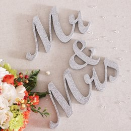 Romance Wooden Mr Mrs Wedding Decor Silver Shinning Standing Letters Sign Large Mr Mrs Shows Wedding Home Decor Furnishing