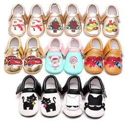 Wholesale Navidad zapatos de bebé árbol spiderman campana de Navidad bordado mocasines borlas infantes marca PU cuero muchacho niña zapatos europeos EE UU regalos