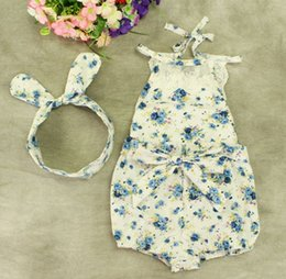 Wholesale 2016 baby girl toddler Summer clothes piece set outfits lace floral romper onesie bloomers diaper covers playsuits pajamas Bow headband