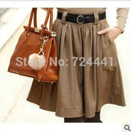 Wholesale Fashion women autumn winter wool blending skirts casual woolen skirt plus size pleated skirts with pocket on side S XXL
