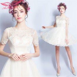 Wholesale AnXin SH Princess lace Bride flower off white evening dress lace flower Performance evening dress