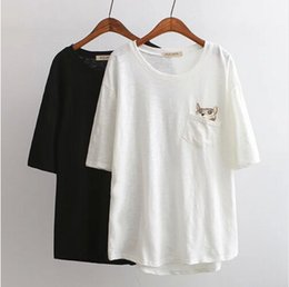 Wholesale 2016 High Quality Cotton Loose Women Cute Cat T Shirt Oversize Fashion Lady Summer Leisure Tees streetwear t shirts