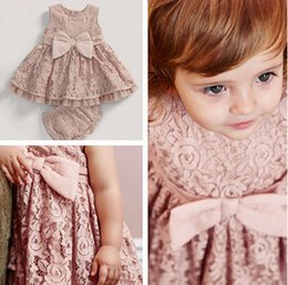 Wholesale Fashion children outfits new baby girls bows full lace vest dress pp shorts sets baby kids summer clothing girls lace sets A8982