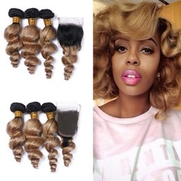 2017 ombre brazilian loose wave closure Two Tone 1B 27 Honey Blonde Dark Root Ombre Loose Wave Brazilian Human Hair Bundles With Lace Closure Free Middle Part 4Pcs Lot ombre brazilian loose wave closure outlet