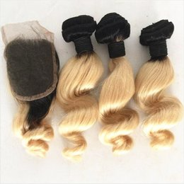 Discount ombre brazilian loose wave closure 8A 1B 613 Brazilian Ombre Hair Bundles With Lace Closure Two Tone Colored Blonde Ombre Hair Weave With Closure Loose Wave 4Pcs Lot