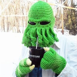 online shopping Free DHL Novelty Handmade Knitting Wool Funny Beard Winter Octopus Hats caps Christmas Party Crocheted beanies unisex Gift