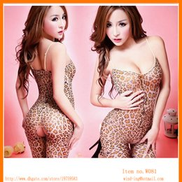 Wholesale hot sexy bodystocking Crotchless Leopard jumpsuit Body stocking Bodysuit Lingerie woman Nightwear free shippiing Wind W081