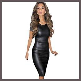 Wholesale Vestido atractivo del vendaje del o cuello de la cremallera de las mujeres de la manera de las ventas el mismo tipo Star Cuero de la manga del cuello de la PU de las señoras de la estrella cuello atractivo Bodycon Midi Vestidos