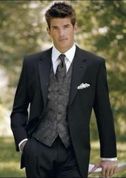 Wholesale Custom Made Black Groom Tuxedos Notch Lapel Groomsmen Men Wedding Suits Just Vest Lace Groomsmen Vest For Cheap