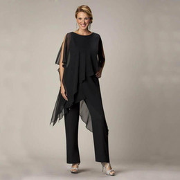 Wholesale 3 Pieces Casual Summer Wear for Women Black Mother Of The Bride Pant Suits Ladies Chiffon Wedding Party Evening Suit Set d113