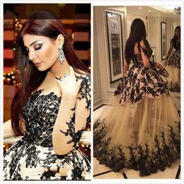 Wholesale 2016 Arabic Evening Dresses Muslim Long Sleeves Formal Dubai Kaftan Abaya Party Prom Dresses See Through Black Lace