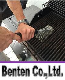 45cm Longitud Negro Barbacoa cepillo de barbacoa de barbacoa 3 pinceles en 1 diseño de cabeza de plástico mango + alambre de acero LLFA9046