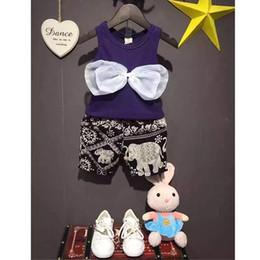 Wholesale Baby Girls Clothing Set Fashion Chest Big Bowknot Shirt Elephant print Pants Bohemia Style Clothing Sets