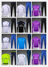 2016-2017 новый Реал футбол тренировочные костюмы Униформа рубашки футбола костюмы Survetement длинным рукавом Реал trainingsuit
