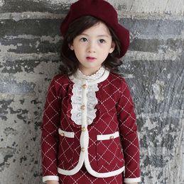 Wholesale High Grade Girl s Clothing Sets Fashion Korean Children Clothing Long Sleeve Lace Plaid Jacket Pantskirt Girls Outfits Lovely