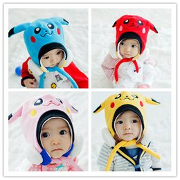 2017 baby protector cap Cute Pikachu Plush Baby Winter Cap Baby Beanies Caps Children Poke Mon Warm Ear Protector Caps Boys Girls Cartoon Animal Plush Hats cheap baby protector cap