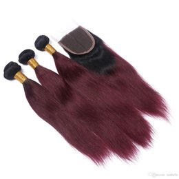 Discount ombre brazilian loose wave closure Loose Wavy Omber #1bT99J Burgundy 4*4 Lace Closure with 3Pcs Wavy Brazilian Hair Bundles Wine Red 4Pcs Lot Fast Delivery