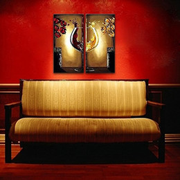 2 Panel Modern Wall Art Decor Framed Handpaint Flower Oil Painting Wine  Glass Canvas Painting Ready to Hang 12inchx24inchx2pcs