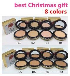 a composição de Natal 8 cores enfrentar Kylie profissão pó da composição de alta qualidade Studio Fix imprensa Powder Plus puffs em pó compõem rosto