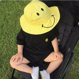 Wholesale Baby Sun Hat New Kids Boys Girls Cotton Smile Face Embroidered Large Brimmed Hat Children Fishing Caps Yellow Bucket Hat For yrs