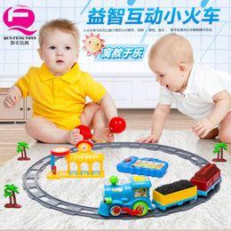 qun feng small toy train rail car racing car set baby boy ding children electric car affordable electric race car set