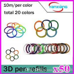 2017 pen refills blue color 50pcs High quality 3D Print PLA Filament Consumables 1.75mm 10M roll 20 Color Pack for 3D Printer Pen Filament Refills YX-CL-01