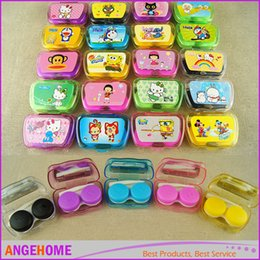 Wholesale Pocket Mini Contact Lens Case Mate Travel Kit Mirror Container Cute eye Cases Lovely Colorful Candy Dual Box Double Case