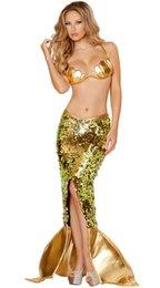 Wholesale Mujer trajes atractivos de la sirena de Halloween Disfraces de cosplay vestido de sirena uniforme de la ropa del juego de juegos con Lentejuelas