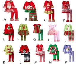 Wholesale 2017 infant xmas elk outfit girls christmas tree deer cartoon t shirt ruffle pants sets children polka dot tops color choose free