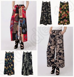 Wholesale LJJJ119 New Women Floral Summer Casual Wide Leg Pants Bamboo Cotton Loose Trousers Nine Palazzo Pants